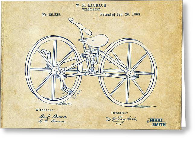 Vintage Bicycle Greeting Cards - Vintage 1869 Velocipede Bicycle Patent Artwork Greeting Card by Nikki Marie Smith