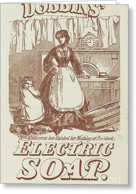 Washing Clothes Greeting Cards - Vintage 1871 Ad Greeting Card by Benoit Beauregard