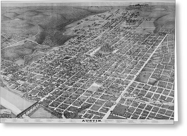 Hand Drawn Photographs Greeting Cards - Vintage 1887 Austin Texas Map Greeting Card by Stephen Stookey