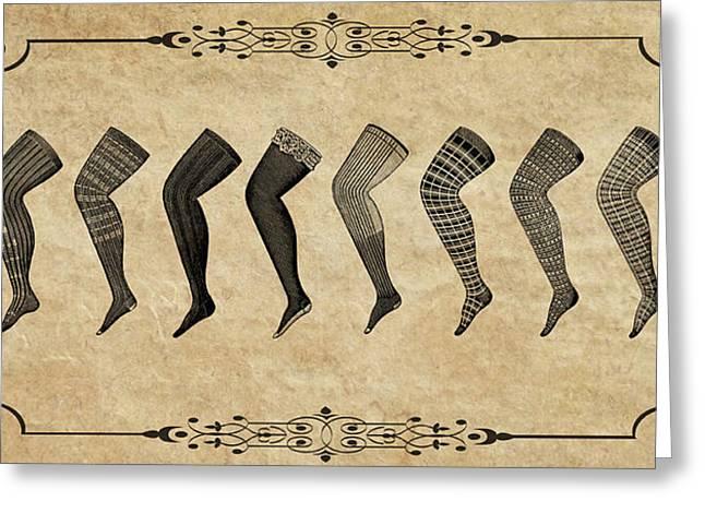 Leggings Greeting Cards - VINTAGE 1890s HOSIERY Greeting Card by Daniel Hagerman