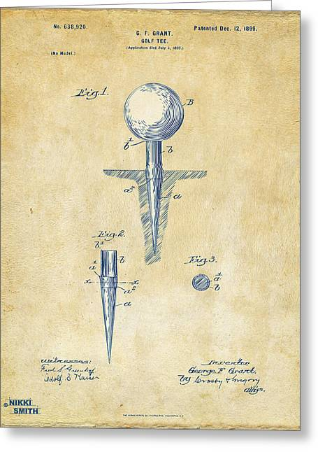 Recreation Greeting Cards - Vintage 1899 Golf Tee Patent Artwork Greeting Card by Nikki Marie Smith