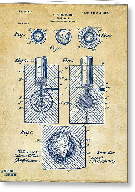 Golf Clubs Greeting Cards - Vintage 1902 Golf Ball Patent Artwork Greeting Card by Nikki Marie Smith