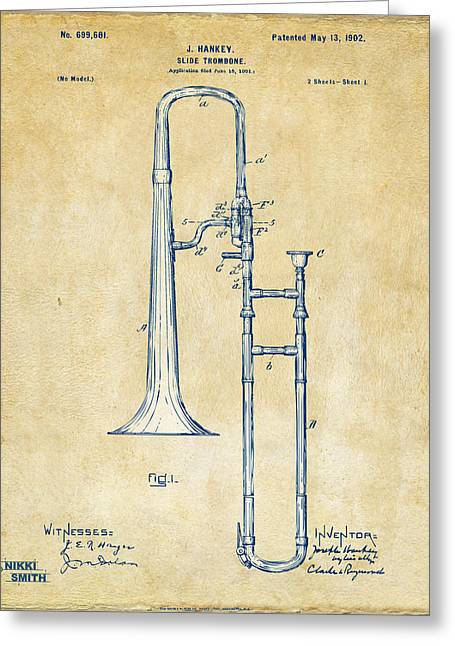 Conductor Greeting Cards - Vintage 1902 Slide Trombone Patent Artwork Greeting Card by Nikki Marie Smith