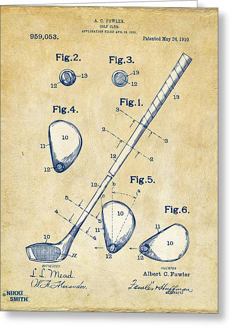 Recreation Greeting Cards - Vintage 1910 Golf Club Patent Artwork Greeting Card by Nikki Marie Smith