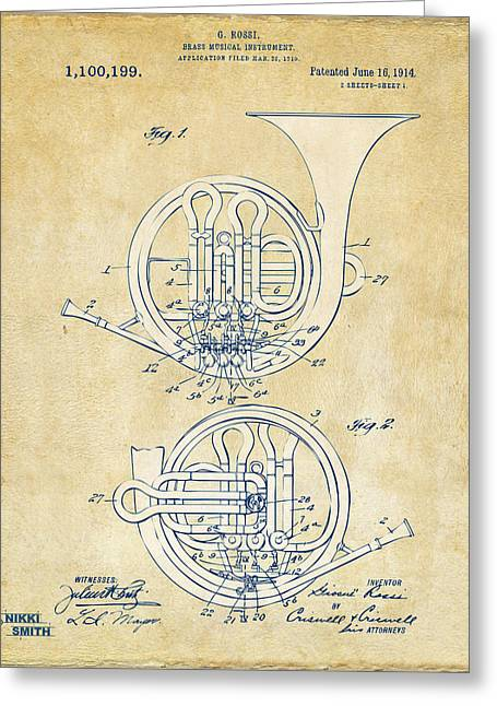 Conductor Greeting Cards - Vintage 1914 French Horn Patent Artwork Greeting Card by Nikki Marie Smith