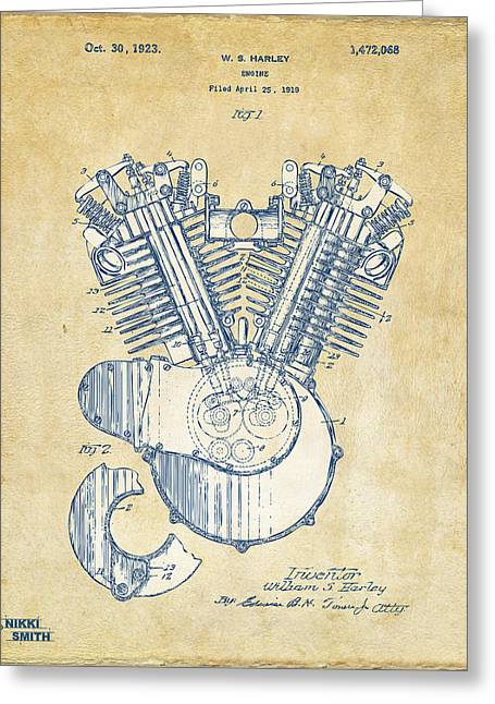 Road Travel Drawings Greeting Cards - Vintage 1923 Harley Engine Patent Artwork Greeting Card by Nikki Marie Smith