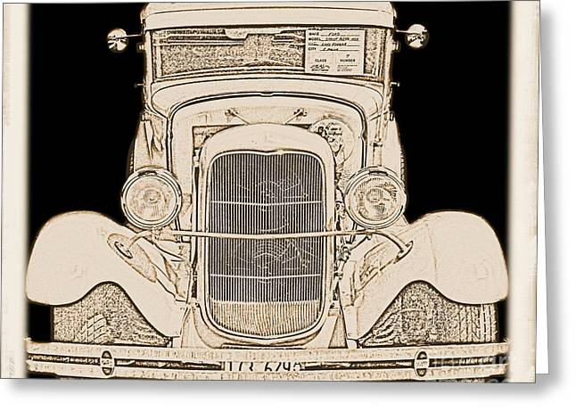Celebration Art Print Digital Art Greeting Cards - Vintage 1929 Ford Street Rod Truck Greeting Card by Margaret Newcomb