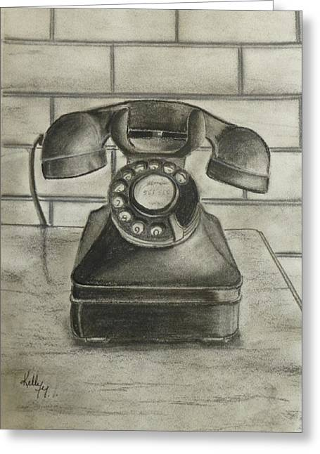 Telephone Greeting Cards - Vintage 1940s Telephone Greeting Card by Kelly Mills