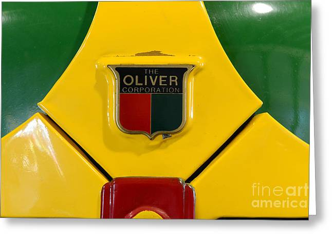 Pull Greeting Cards - Vintage 1950 Oliver Tractor Emblem Greeting Card by Paul Ward