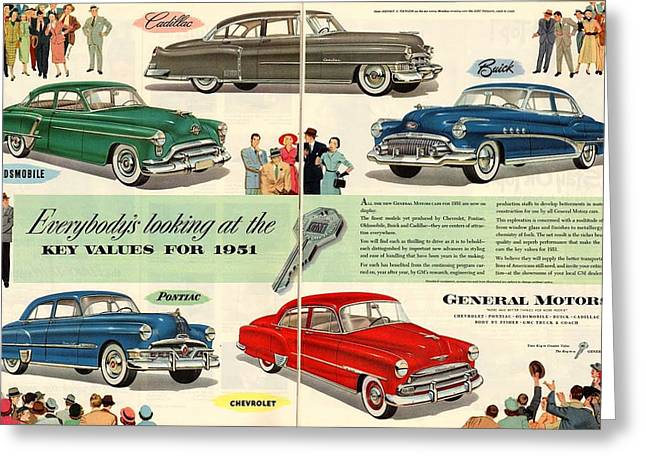 1951 Greeting Cards - Vintage 1951 Advert General Motors Car GM Greeting Card by Nomad Art And  Design