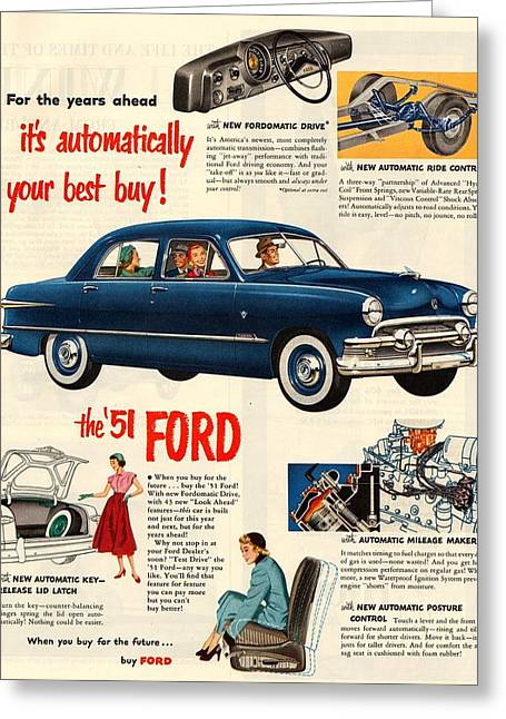 1951 Digital Art Greeting Cards - Vintage 1951 Ford Car Advert Greeting Card by Nomad Art And  Design
