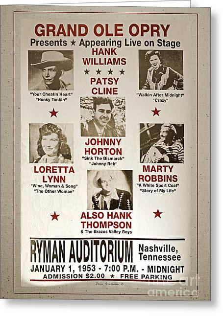 Nashville Poster Greeting Cards - Vintage 1953 Grand Ole Opry Poster With Border Greeting Card by John Stephens