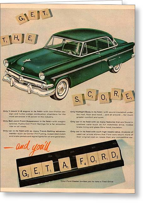 Scrabble Greeting Cards - Vintage 1954 Ford Classic Car Advert Greeting Card by Nomad Art And  Design