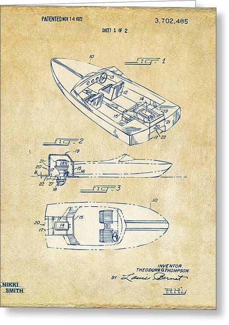 Cave Greeting Cards - Vintage 1972 Chris Craft Boat Patent Artwork Greeting Card by Nikki Marie Smith
