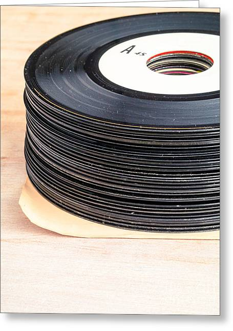 Vinyl Greeting Cards - Vintage 45s Greeting Card by Edward Fielding