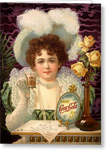 Lithograph Mixed Media Greeting Cards - Vintage 5 Cent Coca Cola 1890 Greeting Card by Mountain Dreams