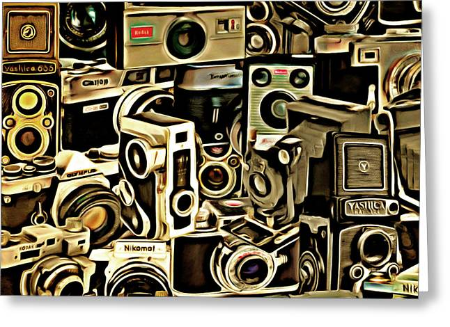 Speed Camera Greeting Cards - Vintage Abstract Photography 20150208 v1 square Greeting Card by Wingsdomain Art and Photography