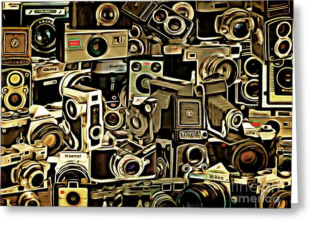 Speed Camera Greeting Cards - Vintage Abstract Photography 20150208 v1 Greeting Card by Wingsdomain Art and Photography