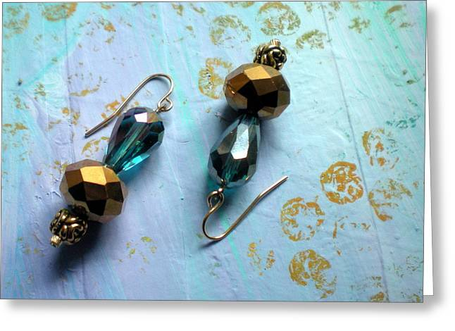 Gold Earrings Greeting Cards - Vintage Advantage Greeting Card by Beth Sebring