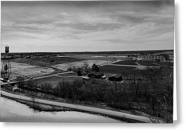 Barn In The Woods Greeting Cards - Vintage Aerial Photography Rural Landscape Greeting Card by Dan Sproul