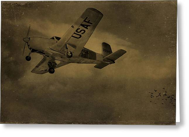 Gears Mixed Media Greeting Cards - Vintage Air Force Flight World War Two Greeting Card by Dan Sproul