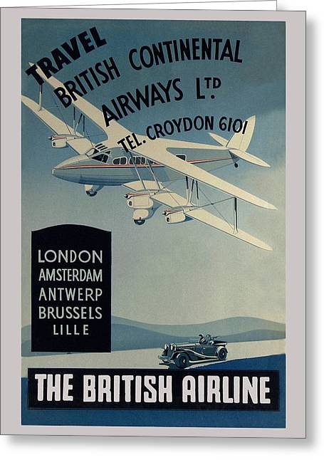 Vintage Airline Greeting Cards - Vintage Airline Ad 1936 Greeting Card by Andrew Fare