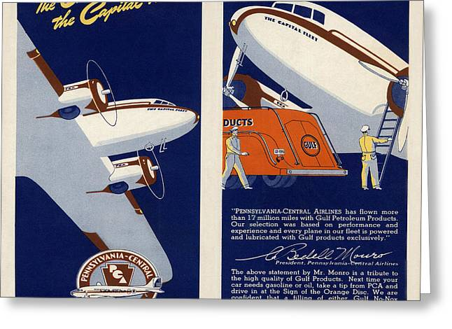 Vintage Airline Greeting Cards - Vintage Airline Ad 1940 Greeting Card by Andrew Fare