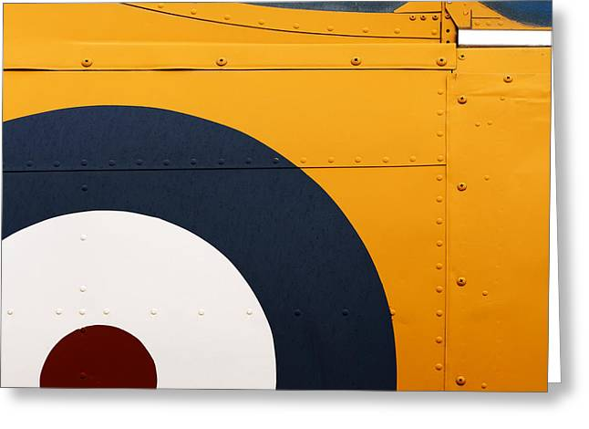 Bullseye Greeting Cards - Vintage Airplane Abstract Design Greeting Card by Carol Leigh
