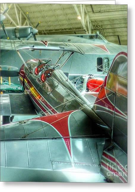 Hugh Hefner Greeting Cards - Vintage Airplane Comparison Greeting Card by Susan Garren