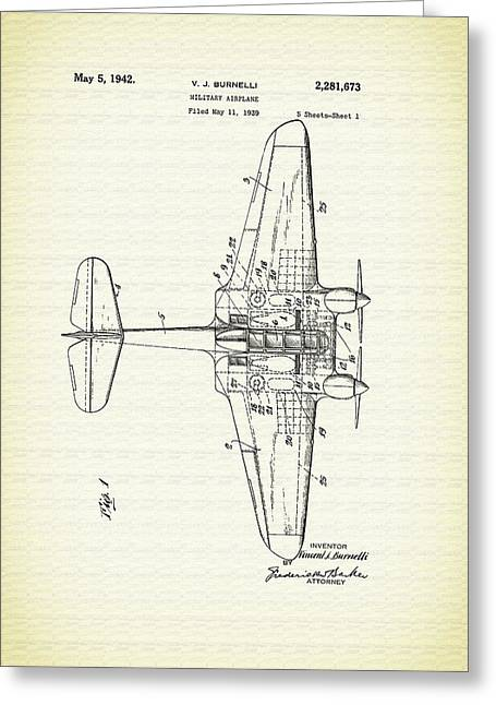 Conferring Greeting Cards - Vintage Airplane Patent 1939 Greeting Card by Mountain Dreams