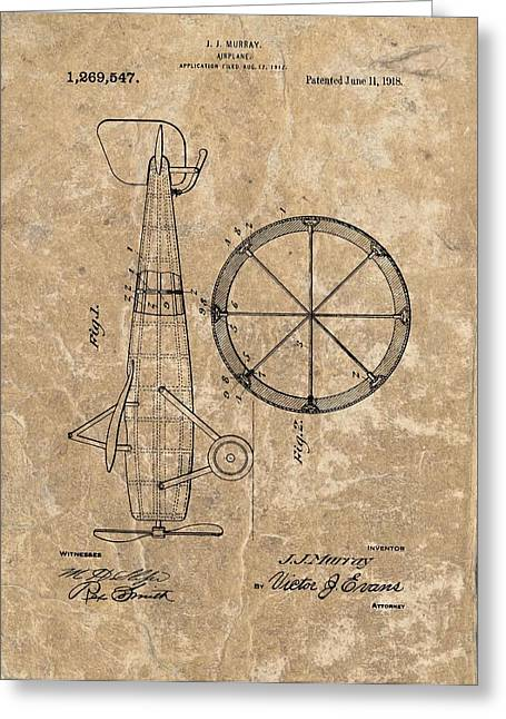 Airplane Mixed Media Greeting Cards - Vintage Airplane Patent Illustration 1918 Greeting Card by Dan Sproul