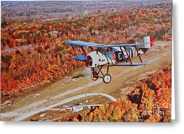 Vintage Greeting Cards - Vintage Airplane Postcard Greeting Card by Valerie Garner