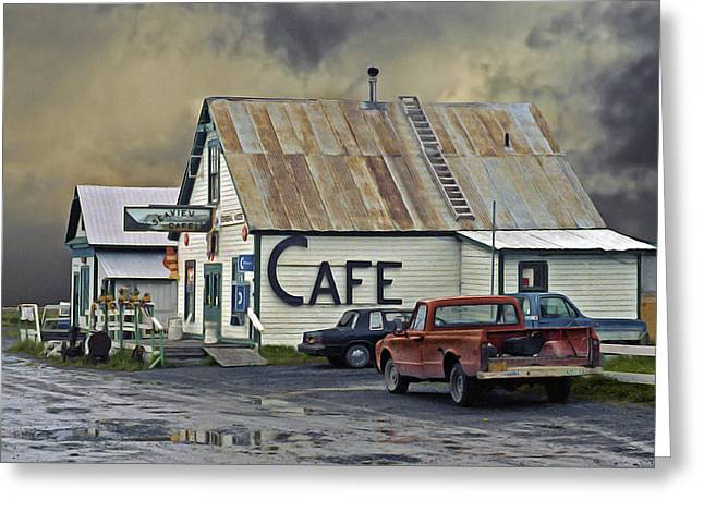 Grocery Store Greeting Cards - Vintage Alaska Cafe Greeting Card by Ron Day