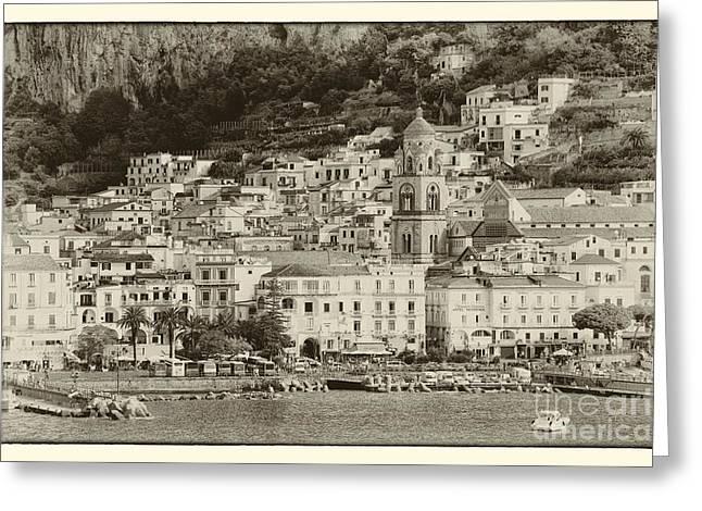 Italian Riveria Greeting Cards - Amalfi Village Vintage Greeting Card by Kate McKenna