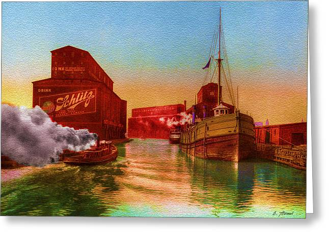 Historical Art Greeting Cards - Vintage Chicago - River Grain Elevators - 1900 Greeting Card by Ben Thompson