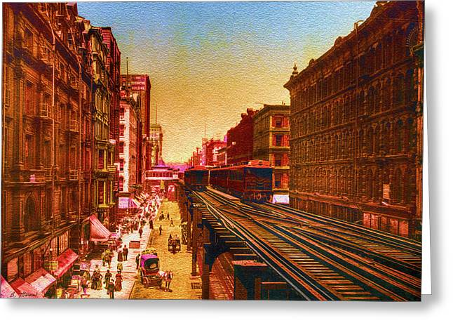 Big Greeting Cards - Vintage Chicago - Wabash Avenue North from Adams Street - 1901 Greeting Card by Ben Thompson