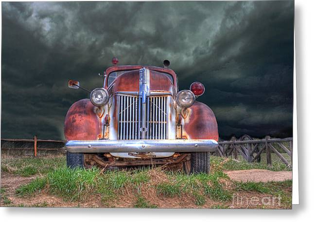 Vintage American Lafrance Fire Truck Greeting Card by Juli Scalzi
