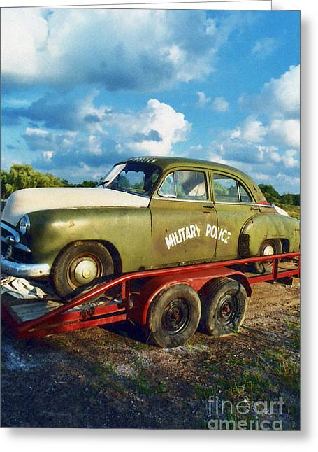 Police Car Greeting Cards - Vintage American Military Police Car Greeting Card by Kathy Fornal