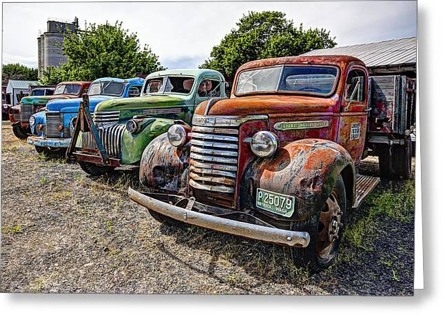 Gmc Greeting Cards - Vintage American Truck Lineup Greeting Card by Daniel Hagerman