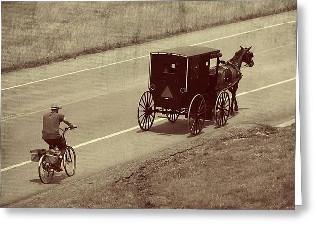 Old Country Roads Greeting Cards - Vintage Amish Buggy And Bicycle Greeting Card by Dan Sproul