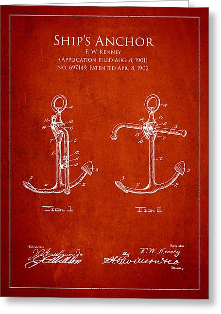 Anchored Greeting Cards - Vintage Anchor Patent Drawing from 1902 Greeting Card by Aged Pixel