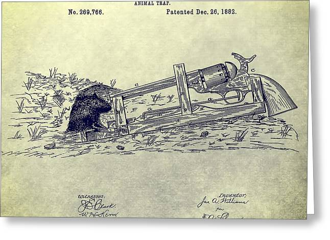 Trappers Greeting Cards - Vintage Animal Trap Patent Greeting Card by Dan Sproul