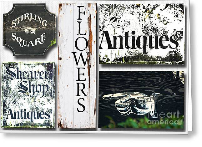 Waterscape Mixed Media Greeting Cards - Vintage antique Signs Collage Greeting Card by Anahi DeCanio