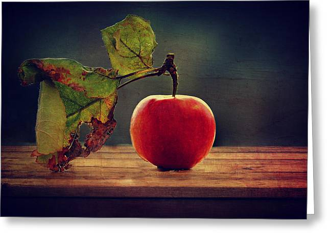 Late-summer Greeting Cards - Vintage Apple Greeting Card by Heike Hultsch