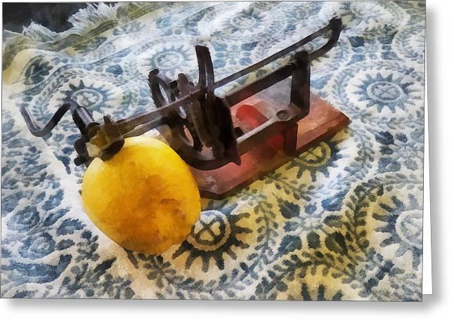 Apples Greeting Cards - Vintage Apple Peeler Greeting Card by Susan Savad