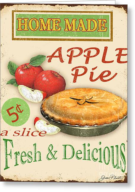 Dessert Digital Greeting Cards - Vintage Apple Pie Sign Greeting Card by Jean Plout