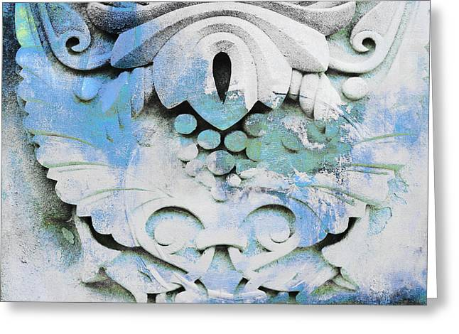On Demand Greeting Cards - Vintage Architectural Patina in Blue Greeting Card by Adspice Studios