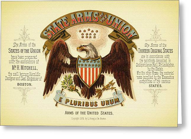 Lithograph Mixed Media Greeting Cards - Vintage Arms of the United States - 1876 Greeting Card by Mountain Dreams