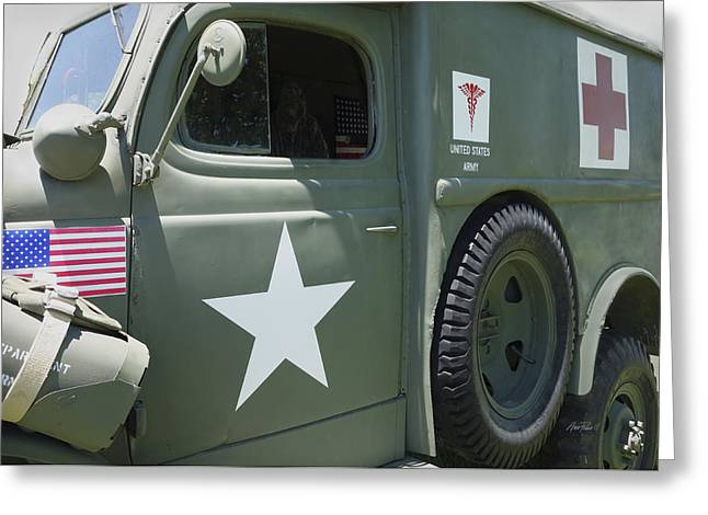 Ambulance Greeting Cards - Vintage Army Ambulance Two  Greeting Card by Ann Powell