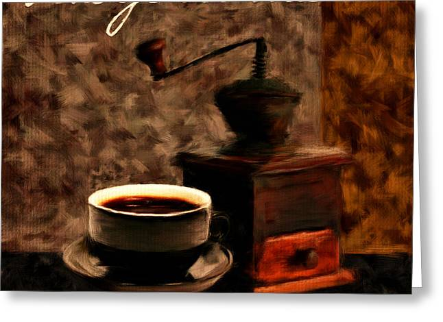 Downtown Cafe Greeting Cards - Vintage Aroma Greeting Card by Lourry Legarde